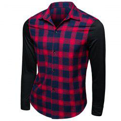 Trendy Turn-Down Collar Tartan Print Long Sleeve Men's Shirt