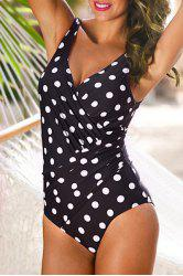 Polka Dot Retro One Piece Swimsuit - Blanc Et Noir