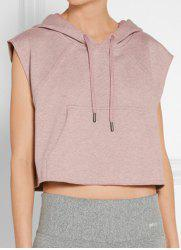 Women's Active Hooded Sleeveless Candy Color Hoodie - LIGHT PINK