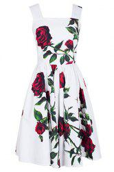 Vintage Square Neck Sleeveless Floral Print Women's Dress -