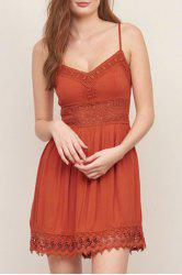 Strappy Lace Panel Going Out Flare Dress - JACINTH