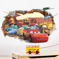 Stylish Cartoon Cars Pattern Broken Wall Shape Removeable 3D Wall Sticker -