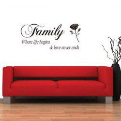 Rose and Letter Removeable Wall Sticker Quotes
