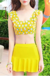 Refreshing Scoop Neck Floral Print High Waisted Three Piece Swimsuit For Women - YELLOW M