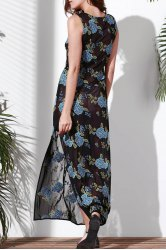 Sleeveless Floral Embroidered Maxi Dress