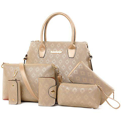Stylish Metal and Embossing Design Tote Bag For WomenSHOES &amp; BAGS<br><br>Color: PLATINUM; Handbag Type: Totes; Style: Fashion; Gender: For Women; Pattern Type: Solid; Handbag Size: Medium(30-50cm); Closure Type: Zipper; Interior: Cell Phone Pocket; Occasion: Versatile; Main Material: PU; Hardness: Hard; Weight: 1.2000kg; Size(CM)(L*W*H): 29*13*29; Strap Length: Short:13CM, Long:60-120CM (Adjustable); Package Contents: 1 x Tote Bag,1 x Crossbody Bag,1 x Clutch Bag,1 x Wallet,1 x Key Bag,1 x Card Bag;