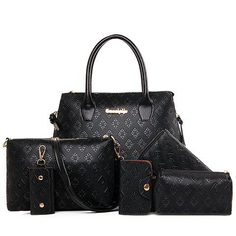 Stylish Metal and Embossing Design Tote Bag For WomenSHOES &amp; BAGS<br><br>Color: BLACK; Handbag Type: Totes; Style: Fashion; Gender: For Women; Pattern Type: Solid; Handbag Size: Medium(30-50cm); Closure Type: Zipper; Interior: Cell Phone Pocket; Occasion: Versatile; Main Material: PU; Hardness: Hard; Weight: 1.2000kg; Size(CM)(L*W*H): 29*13*29; Strap Length: Short:13CM, Long:60-120CM (Adjustable); Package Contents: 1 x Tote Bag,1 x Crossbody Bag,1 x Clutch Bag,1 x Wallet,1 x Key Bag,1 x Card Bag;