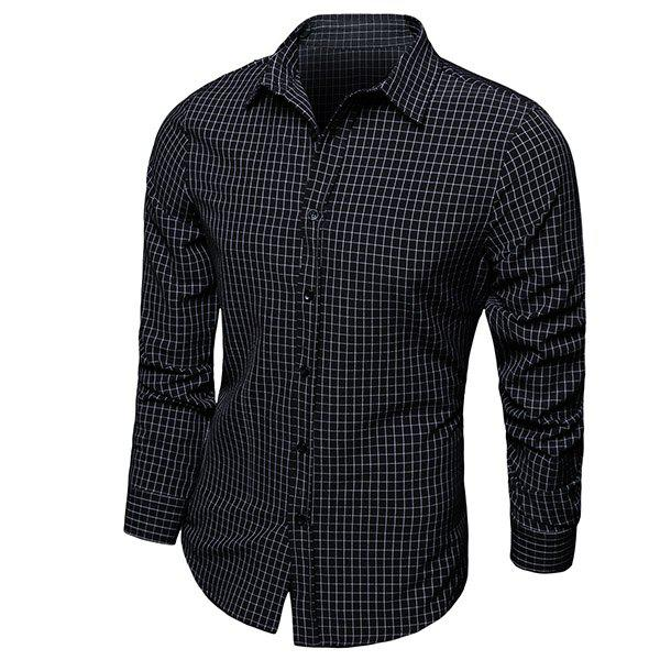 Buy Color Block Checked Turn-down Collar Long Sleeves Shirt For Men