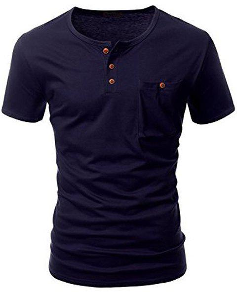 One Pocket Multi-Button Round Neck Short Sleeves T-Shirt For MenMEN<br><br>Size: M; Color: DEEP BLUE; Style: Casual; Material: Cotton Blends; Sleeve Length: Short; Collar: Round Neck; Embellishment: Button; Pattern Type: Solid; Weight: 0.185kg; Package Contents: 1 x T-Shirt;
