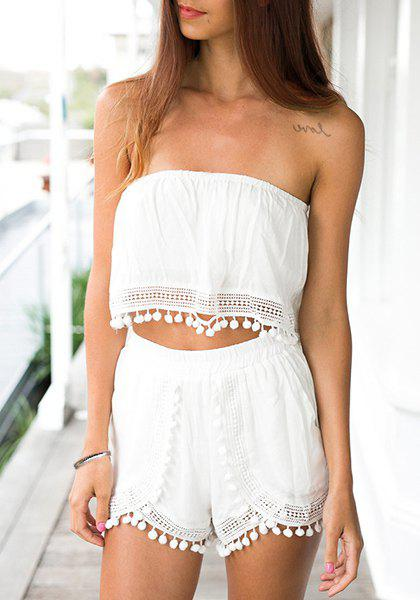 eb36d23aaae Cheap Sexy Strapless Sleeveless White Crop Top + Fringed Shorts Twinset For  Women