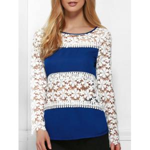 Stylish Jewel Neck Long Sleeve Crochet Flower Blouse For Women - Blue And White - L