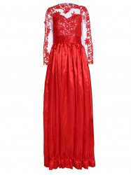 Noble Ruffled Collar Long Sleeve See-Through Lace Splicing Women's Prom Dress -