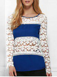 Stylish Jewel Neck Long Sleeve Crochet Flower Blouse For Women