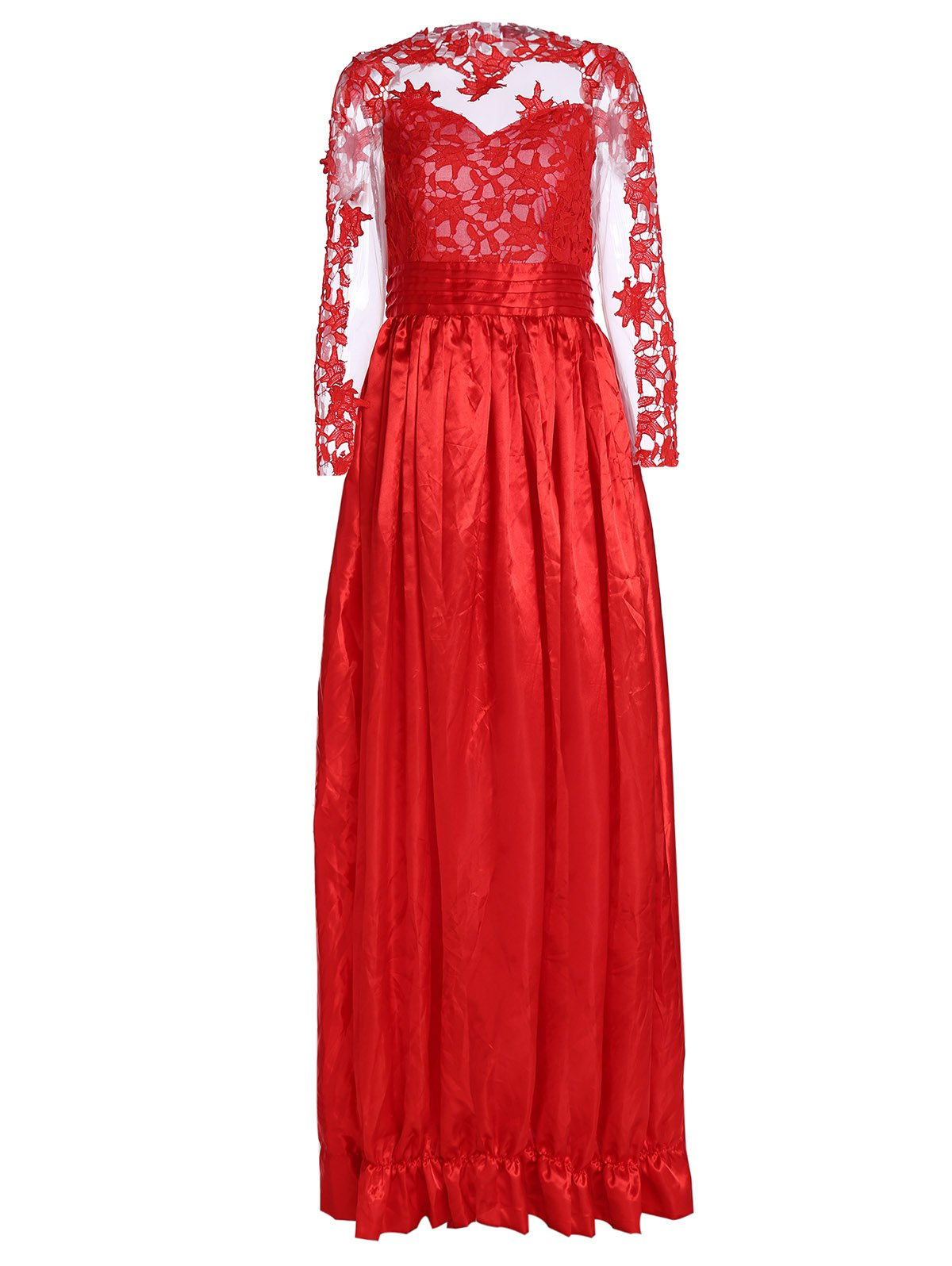 Shop Noble Ruffled Collar Long Sleeve See-Through Lace Splicing Women's Prom Dress