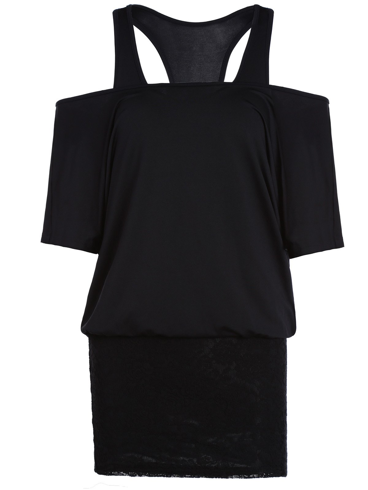 Unique Racerback Tank Top and Off The Shoulder Two Piece Bodycon Dress
