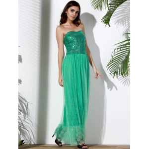 Bandeau Sequin Long Swing Prom Evening Dress - GREEN M