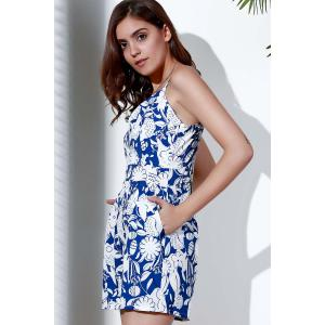 Stylish Spaghetti Strap Printed Backless Romper For Women - WHITE S