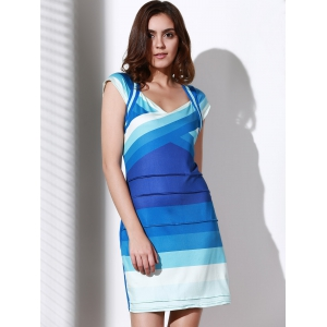 Sweetheart Neck Ombre Bandage Cocktail Dress - BLUE S