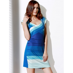 Sweetheart Neck Ombre Bandage Cocktail Dress -