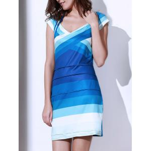 Sweetheart Neck Ombre Bandage Cocktail Dress
