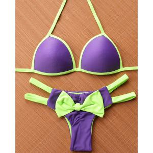 Cute Halter Hit Color Cut Out Bowknot Design Bikini For Women