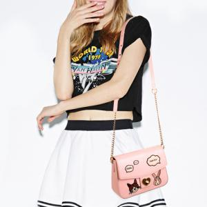 Cute Chains and Cartoon Pattern Design Crossbody Bag For Women - PINK