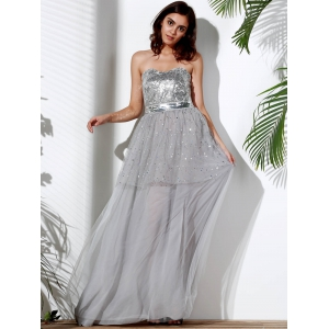 Bandeau Sequin Long Swing Prom Evening Dress -
