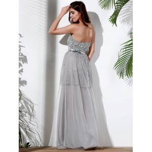 Strapless Sequin Maxi Sparkly Prom Evening Dress - GRAY S