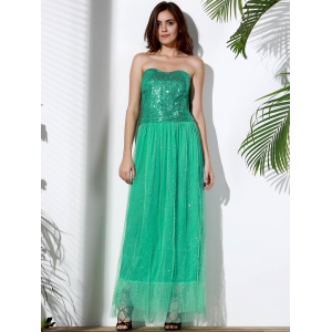 Bandeau Sequin Long Swing Prom Evening Dress - GREEN S