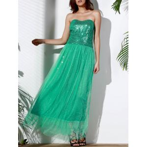 Bandeau Sequin Long Swing Prom Evening Dress