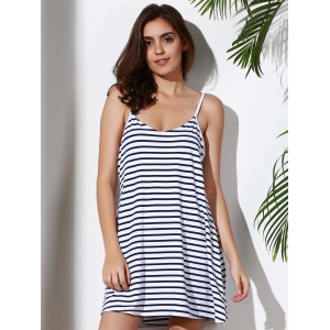 Spaghetti Strap Striped Loose-Fitting A Line Dress -