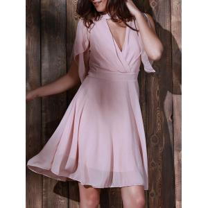 Cut Out Knee Length Chiffon Casual Dress