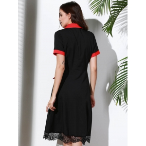 Vintage Turn-Down Collar Color Block Short Sleeve Dress For Women -