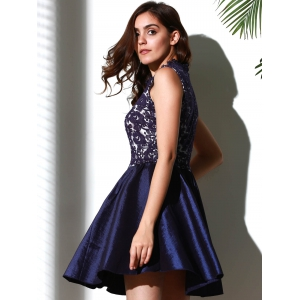 Elegant Solid Color Stand Collar Hollow Out See-Through Ball Gown Dress For Women - PURPLISH BLUE M