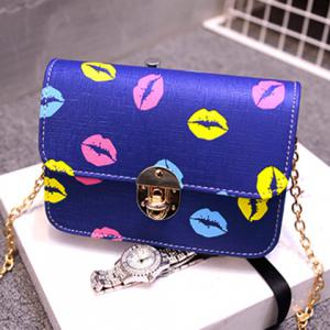 Stylish Chain and Lip Pattern Design Crossbody Bag For Women - BLUE
