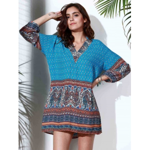 Ethnic Style Stand Collar 3/4 Sleeve Printed Women's Dress - BLUE M