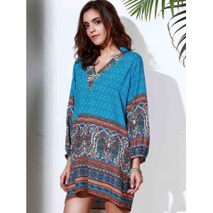 Ethnic Style Stand Collar 3/4 Sleeve Printed Women's Dress -