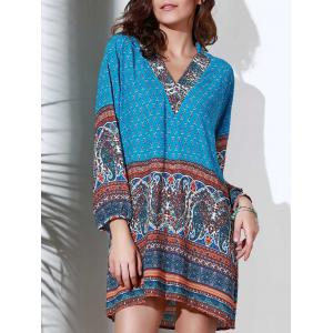 Ethnic Style Stand Collar 3/4 Sleeve Printed Women's Dress - Blue - L