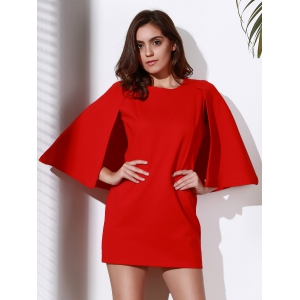 Chic Round Neck 3/4 Sleeve Pure Color Women's Bodycon Dress -