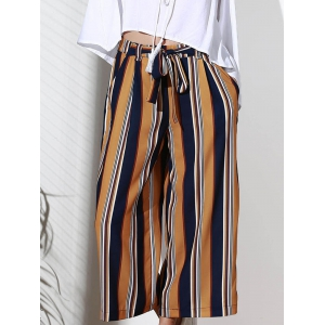 Chic High-Waisted Striped Pocket Design Women's Cropped Pants -