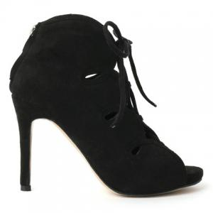 Trendy Lace-Up and Suede Design Peep Toe Shoes For Women -