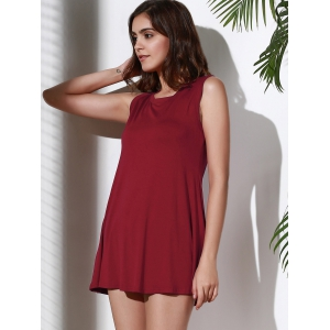 Casual Solid Color Sleeveless Tank Top Dress For Women - WINE RED S