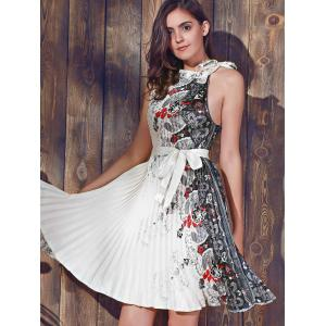 Vintage Round Collar Sleeveless Printed Pleated Dress For Women - COLORMIX 2XL