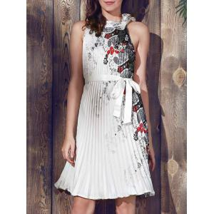 Vintage Round Collar Sleeveless Printed Pleated Dress For Women
