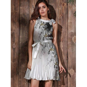 Vintage Round Neck Sleeveless Printed Pleated Dress For Women -