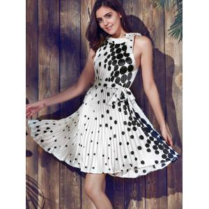 Polka Dot Chiffon Pleated Skater Dress -