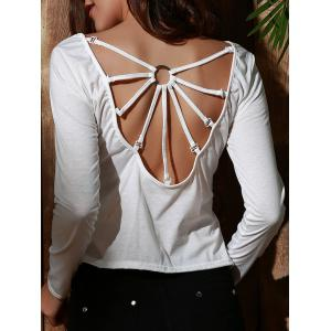 Stylish Scoop Neck Long Sleeve Backless T-Shirt For Women