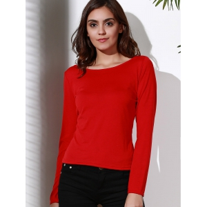 Stylish Scoop Neck Long Sleeve Backless T-Shirt For Women - RED M