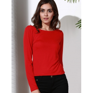 Stylish Scoop Neck Long Sleeve Backless T-Shirt For Women - RED S