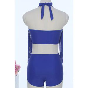 Sexy Halter Solid Color Fringed Two Piece Swimsuit For Women -